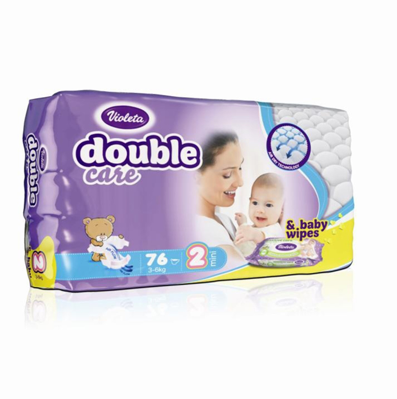 Violeta® Plenice AirCare 2 Mini (3-6kg) Jumbo 76+Darilo Baby vlažni robčki