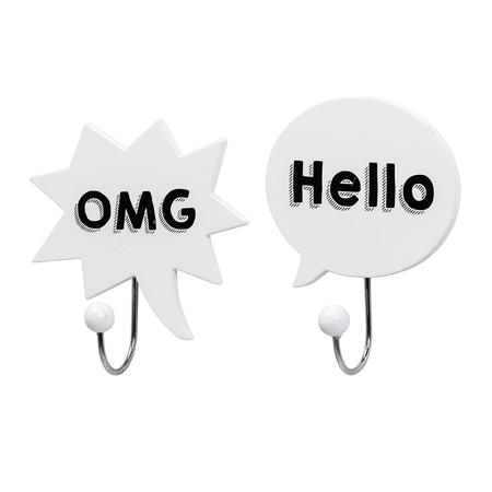 Slika Bloomingville® Dva bela obešalnika OMG, Hello