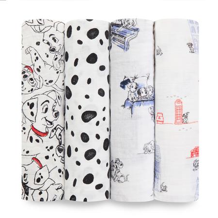 Slika Aden+Anais® Komplet 4 povijalnih pleničk Disney's 101 Dalmatians 120x120