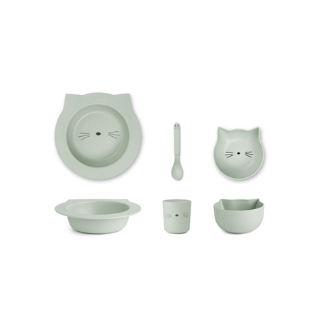 Liewood® Jedilni set iz bambusovih vlaken Baby Cat Dusty Mint