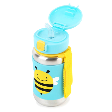 Slika Skip Hop® Steklenička iz nerjavečega jekla s slamico Čebelica