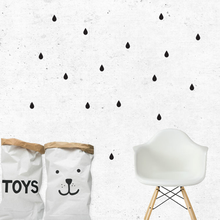 Picture of Pick Art Design® Wall Sticker Raindrops Black