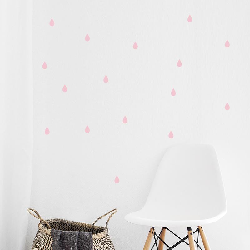 Pick Art Design® Stenske nalepke Dežne kapljice Pastelno roza