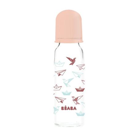 Slika Beaba® Steklenička iz stekla Stars Pink 250ml