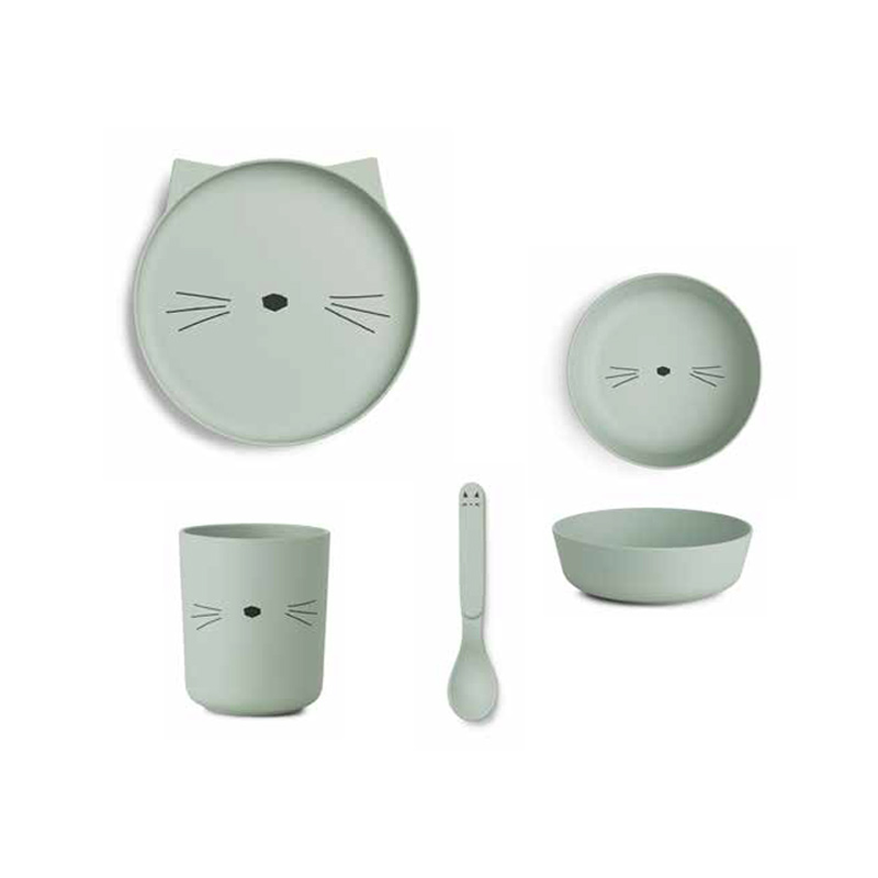 Liewood® Jedilni set iz bambusovih vlaken Cat Dusty Mint