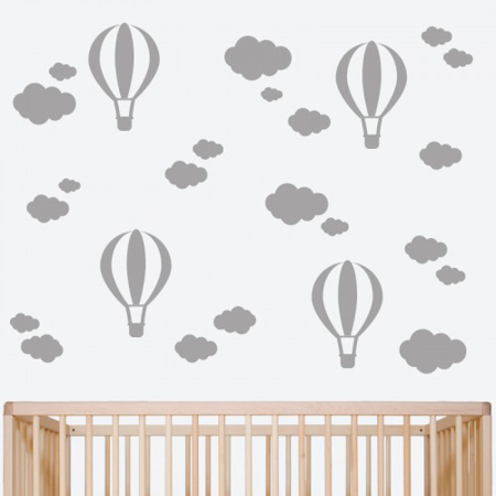 Picture of Pick Art Design® Wall Sticker Grey Balloons&Clouds
