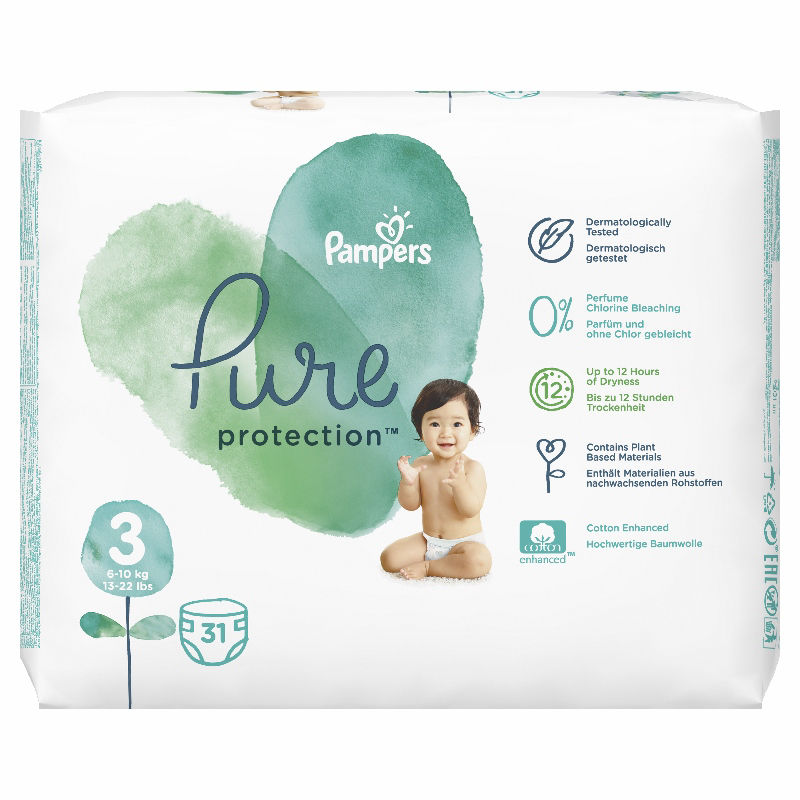 Pampers® Pleničke Pampers Pure Protection vel. 3 (6-10 kg) 31 kosov