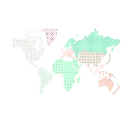 Slika Dekornik® Stenska nalepka Zemljevid Sveta Pastel