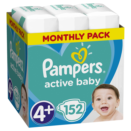 Slika Pampers® Pleničke Active Baby Dry MP vel. 4+ (10-15 kg) 152 kosov