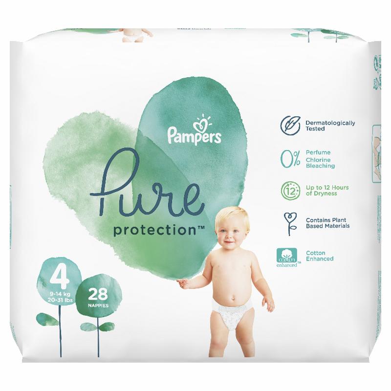 Pampers® Pleničke Pampers Pure Protection vel. 4 (9-14 kg) 28 kosov