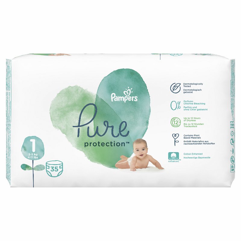 Pampers® Pleničke Pampers Pure Protection vel. 1 (2-5 kg) 35 kos