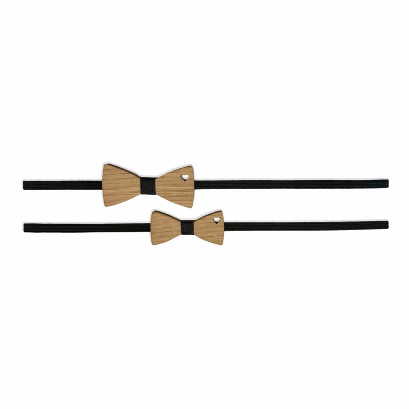 Komplet elastičnih trakov z lesenim metuljčkom Črna