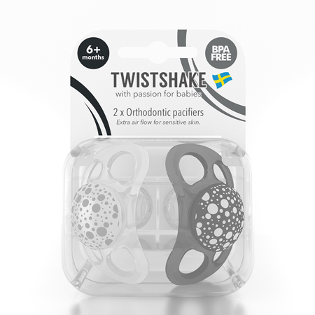 Picture of Twistshake 2x Pacifier Black&White (0+/6+)