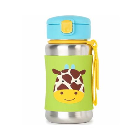 Slika Skip Hop® Steklenička iz nerjavečega jekla s slamico Žirafa