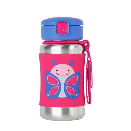 Slika Skip Hop®  Steklenička iz nerjavečega jekla s slamico Metuljček