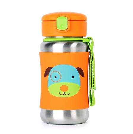 Slika Skip Hop® Steklenička iz nerjavečega jekla s slamico Kužek