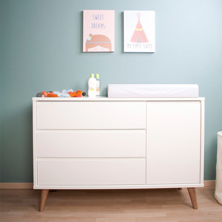 Picture of Childhome® Retro Rio White Chest 3+1 Drawers + Changing Unit