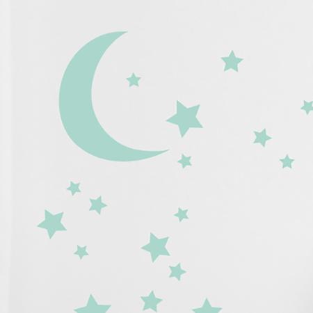 Slika Pick Art Design® Stenske nalepke Luna z zvezdicami Mint