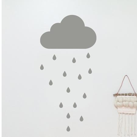 Slika Pick Art Design® Stenska nalepka Siv oblaček in dežne kapljice