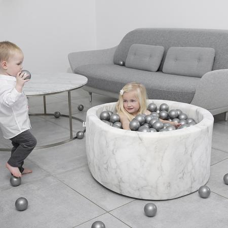 Misioo® Bazen s kroglicami Marble White Velvet Collection