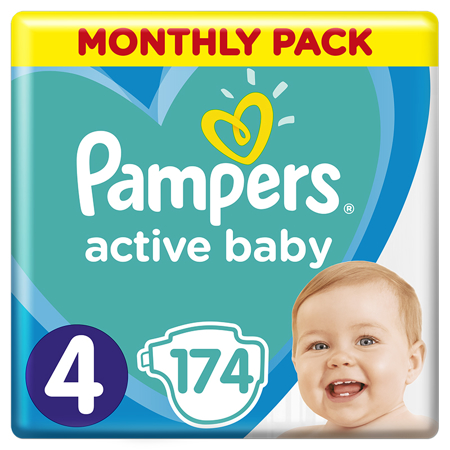 Slika Pampers® Pleničke Active Baby Dry MP vel. 4 (9-14 kg) 174 kosov