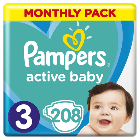 Pampers® Pleničke Active Baby MP Dry vel. 3 (6-10 kg) 208 kosov