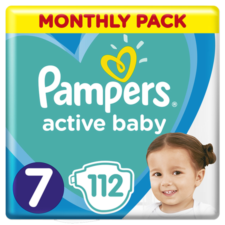 Pampers® Pleničke Active Baby MP Dry vel. 7 (15+ kg) 112 kosov