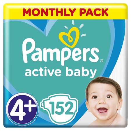 Pampers® Pleničke Active Baby Dry MP vel. 4+ (10-15 kg) 152 kosov