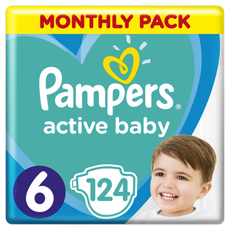Pampers® Pleničke Active Baby Dry MP vel. 6 (13-18 kg) 124 kosov