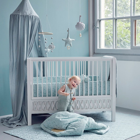 Picture of CamCam® Crib Bumper With Lining Pressed Leaves Blue (360x30)