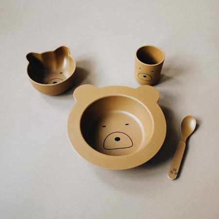 Liewood® Jedilni set iz bambusovih vlaken Baby Mr Bear Mustard