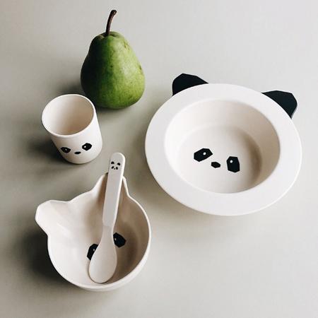 Slika Liewood® Jedilni set iz bambusovih vlaken Baby Panda