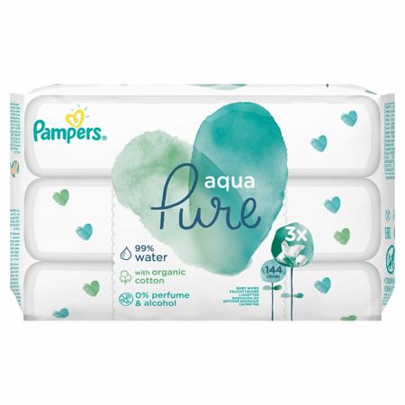 Pampers® Otroški vlažilni robčki Pampers Aqua Pure 3x48 kosov