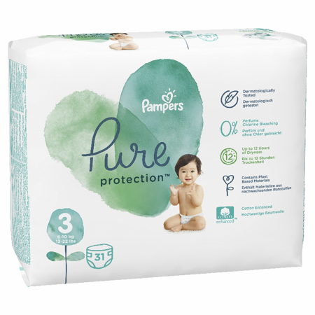 Slika Pampers® Pleničke Pampers Pure Protection vel. 3 (6-10 kg) 31 kosov