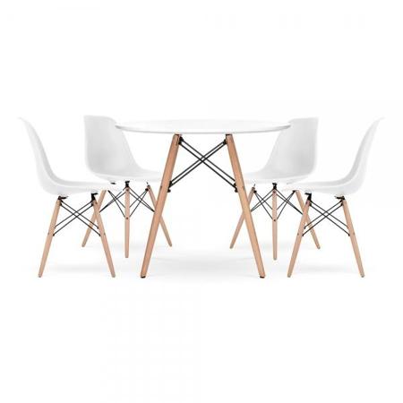 Slika EM Furniture Set mizice in štirih stolčkov White