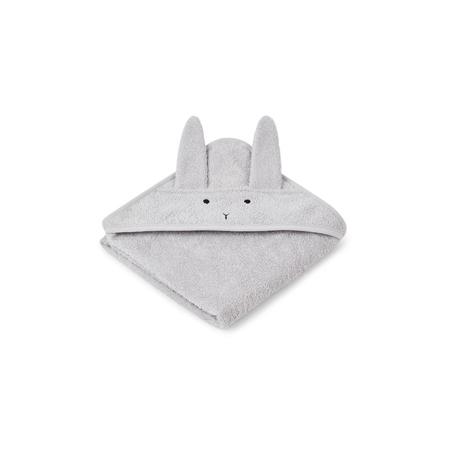 Liewood® Brisača s kapuco Rabbit Grey Baby 70x70