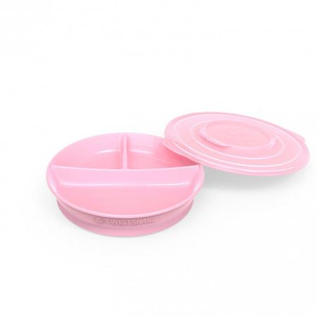 Slika Twistshake® Deljeni krožnik 210ml+2x90ml (6+m) - Pastel Pink