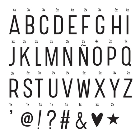 A Little Lovely Company® Lightbox različni seti črk - Basic