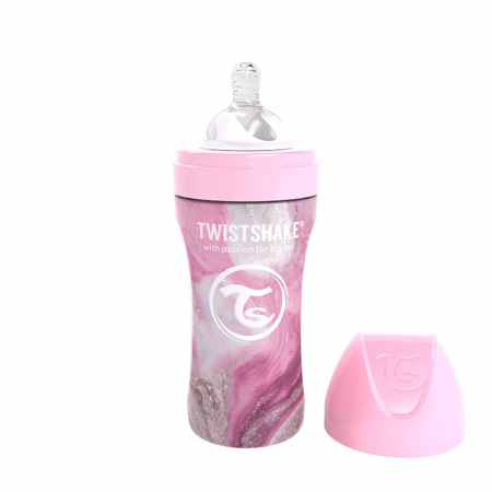 Picture of Twistshake® Anti-Colic Stainless Steel 330ml Marble Pink