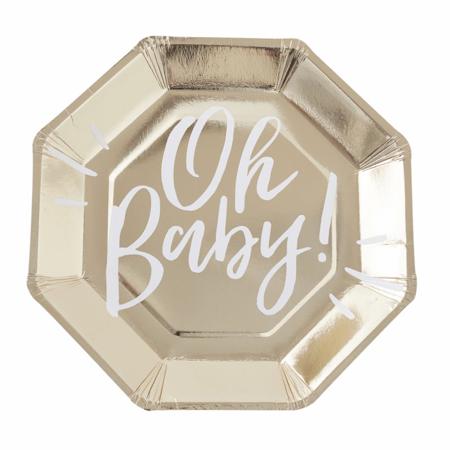 Ginger Ray® Papirnati krožniki Oh Baby! 8 kosov