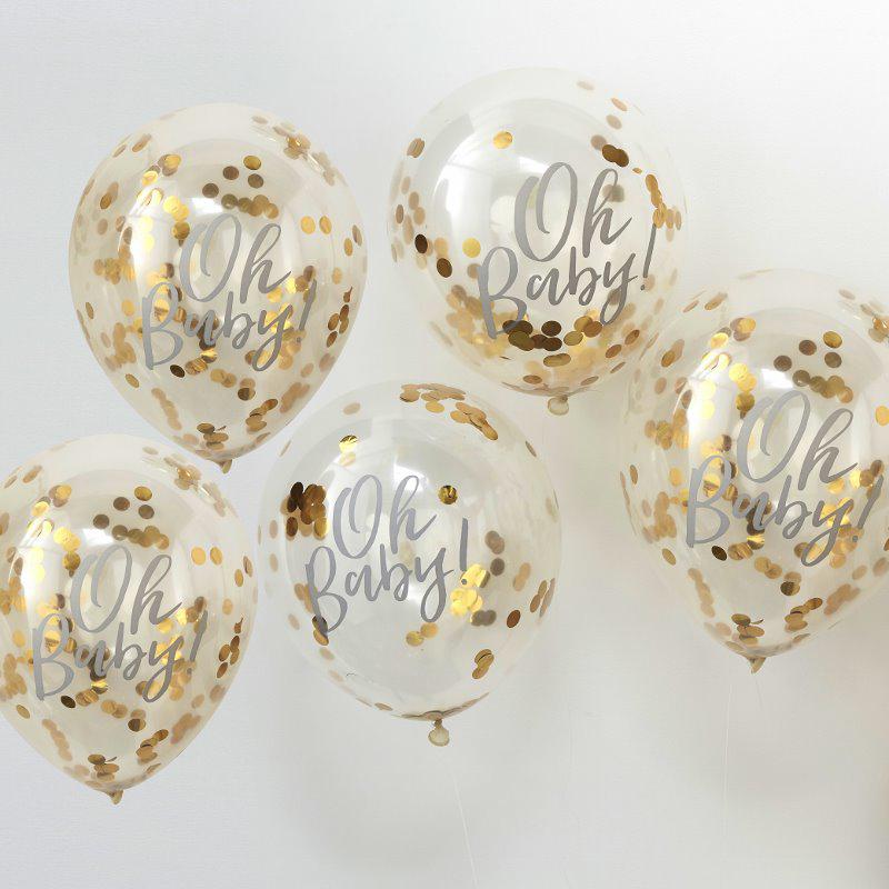 Ginger Ray® Baloni s konfeti Oh Baby! 5 kosov