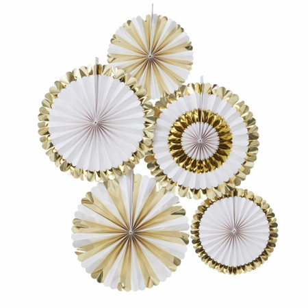 Picture of Ginger Ray® Gold Foiled Fan Decorations Oh Baby!