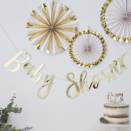 Immagine di Ginger Ray® Frase decorativa Gold Baby Shower