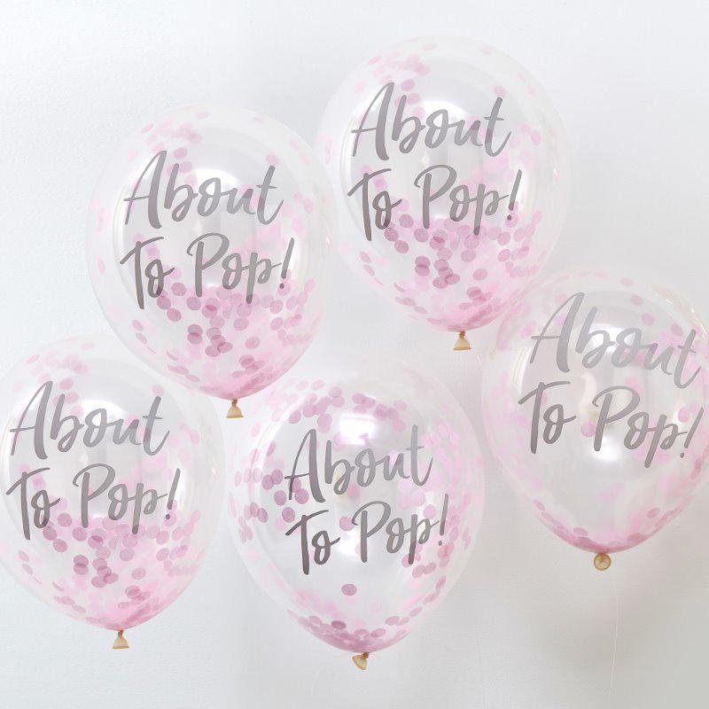 Ginger Ray® Baloni s konfeti About To Pop Pink 5 kosov