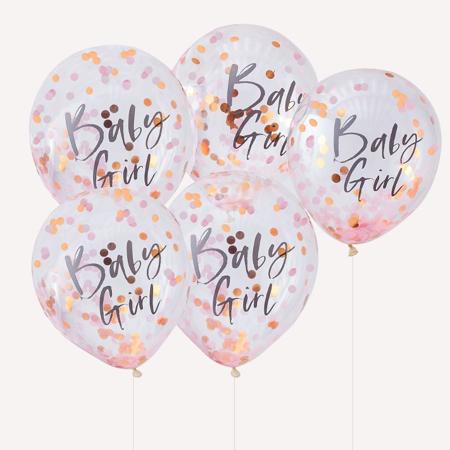 Slika Ginger Ray® Baloni s konfeti Baby Girl Twinkle Twinkle 5 kosov