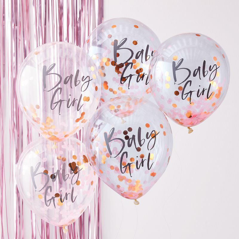 Ginger Ray® Baloni s konfeti Baby Girl Twinkle Twinkle 5 kosov
