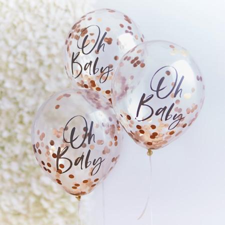 Ginger Ray® Baloni s konfeti Rose Gold Oh Baby! 5 kosov