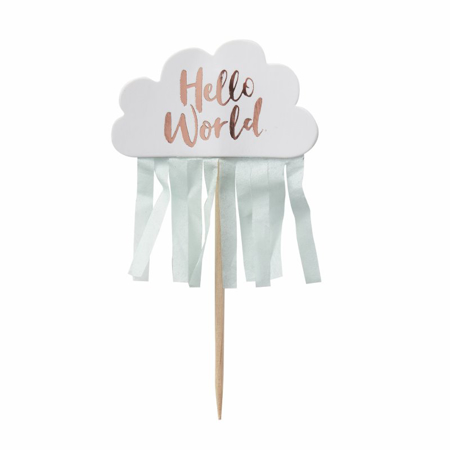 Picture of Ginger Ray® Rose Gold & Cloud Baby Shower Cupcake Toppers Hello World