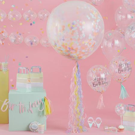Ginger Ray® Happy Birthday Baloni s konfeti 5 kosov