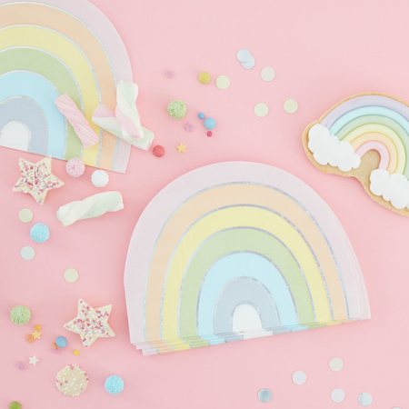 Ginger Ray® Rainbow papirnate serviete Pastel Party 16 kosov